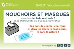Masques et mouchoirs : à jeter dans les déchets résiduels